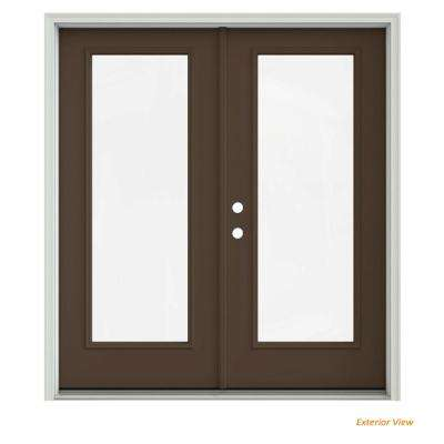 72 in. x 80 in. Dark Chocolate Painted Steel Right-Hand Inswing Full Lite Glass Stationary/Active Patio Door