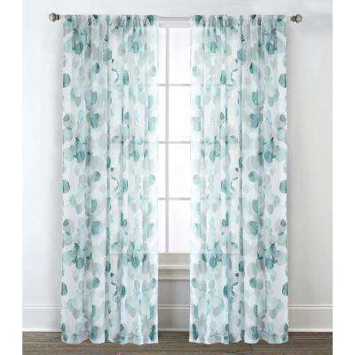 54 in. W x 84 in. L Sheer Window Panel in Eucalyptus Teal (2-Pack)