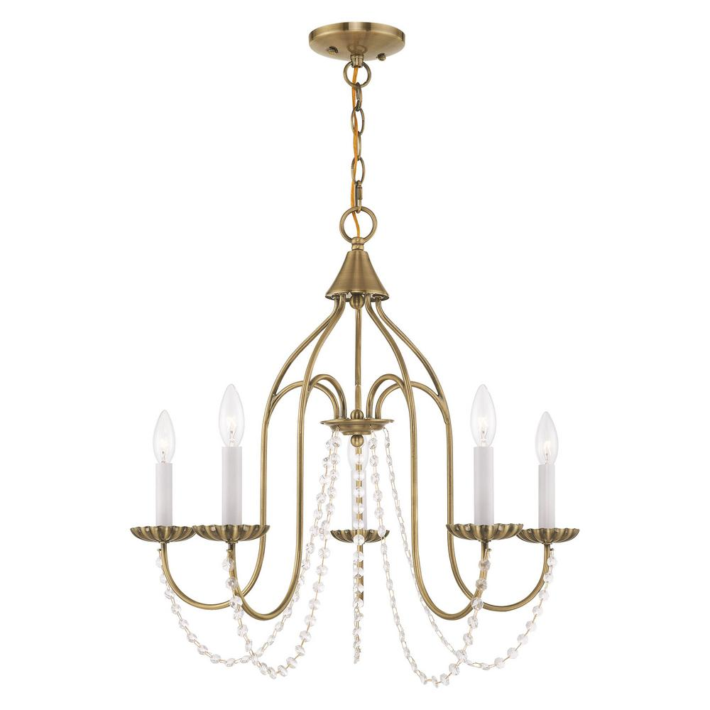 Livex lighting alessia 5 light antique brass chandelier with clear crystals