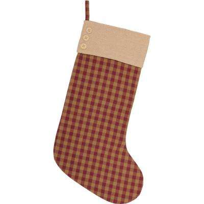 20 in. Cotton/Jute Burgundy Check Red Primitive Christmas Decor Button Stocking