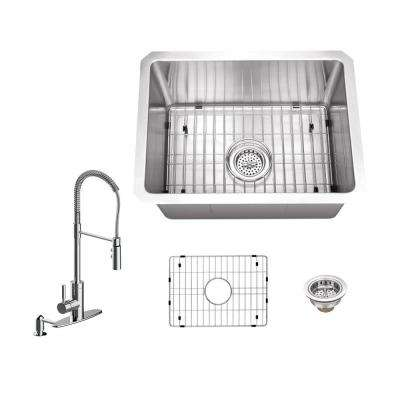 All-in-One Undermount Stainless Steel 20 in. Single Bowl Kitchen Sink with Polished Chrome Kitchen Faucet