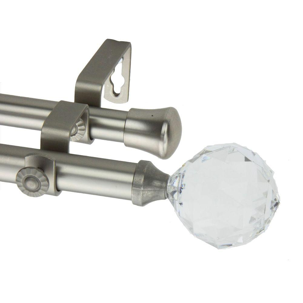 Rod Desyne 66 in. - 120 in. Double Telescoping Curtain Rod in Satin Nickel with Faceted Finial