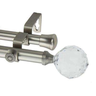 120 in. - 170 in. Double Telescoping Curtain Rod in Satin Nickel with Faceted Finial