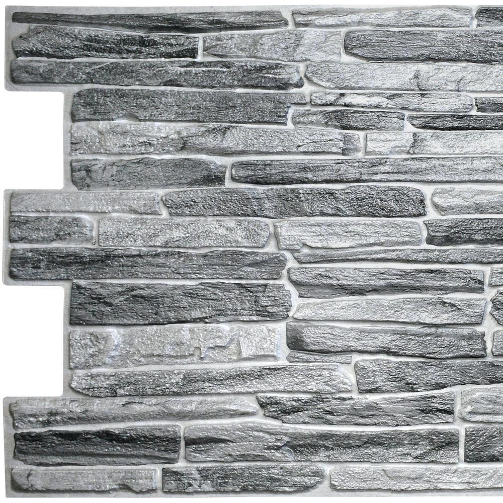 3D Falkirk Retro 10/1000 in. x 39 in. x 20 in. Dark Grey Faux Slate PVC Wall Panel