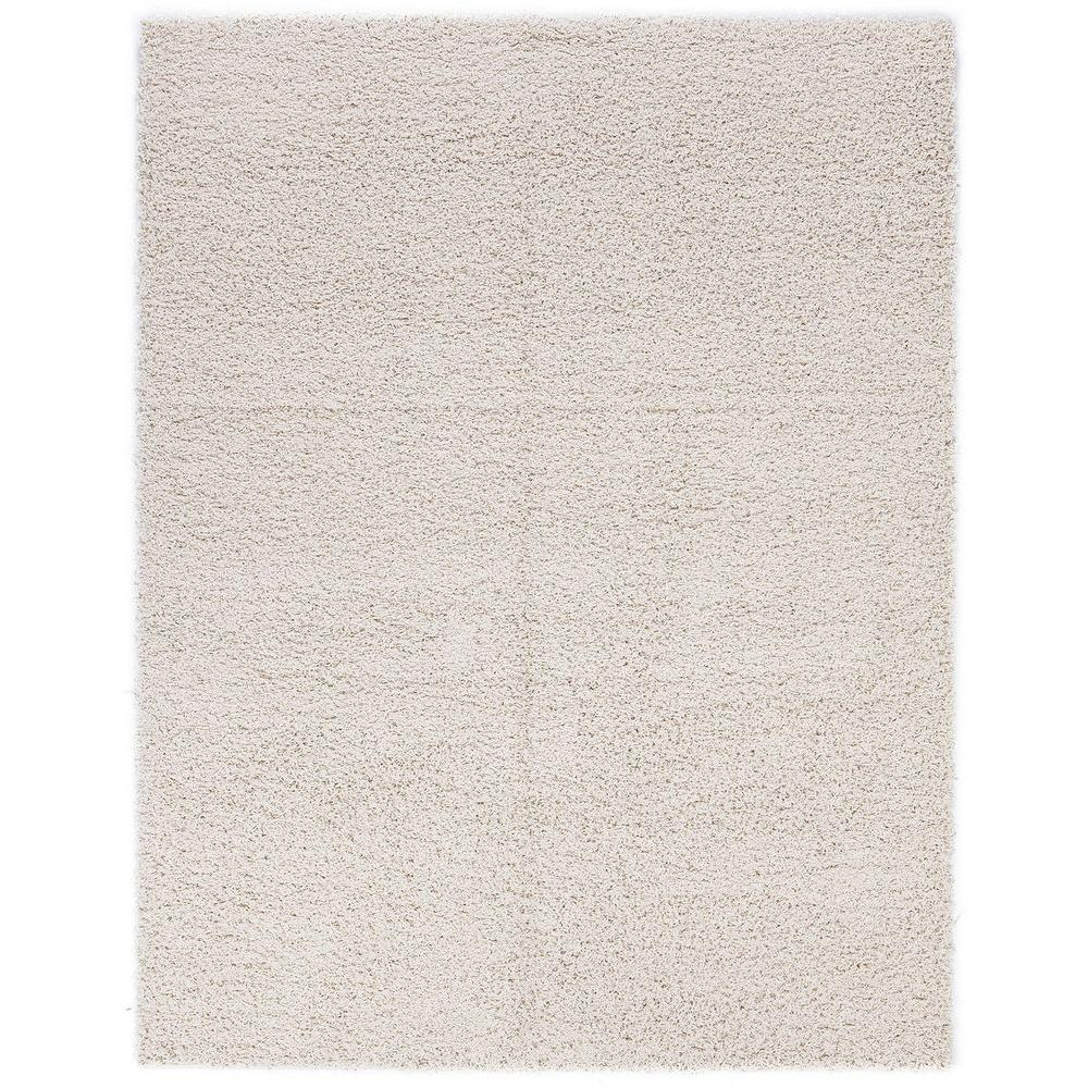 Plush Solid Shaggy Beige 3 ft. 3 in. x 4 ft.
