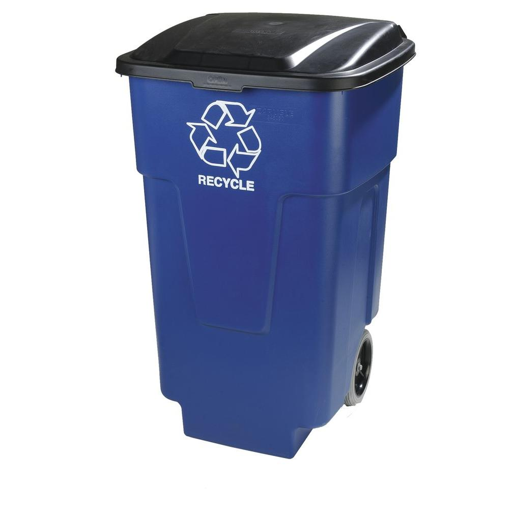 Carlisle 50 Gal Blue Roll Cart Recycle Container 2 Pack