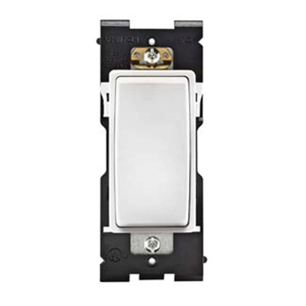 Leviton Renu 15 Amp Single-Pole Rocker Switch - White on White-DISCONTINUED