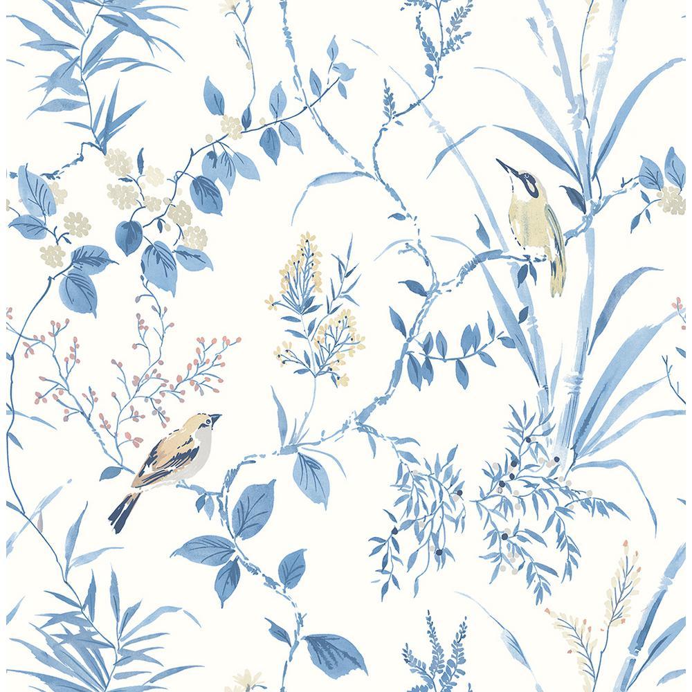56.4 sq. ft. Imperial Garden Blue Botanical Wallpaper