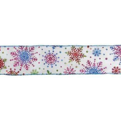 2.5 in. x 16 yds. Shimmering White and Rainbow Glitter Snowflake Wired Christmas Craft Ribbon