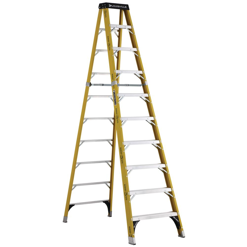 Louisville 10 ft. Fiberglass Step Ladder with 375 lbs. Lo...