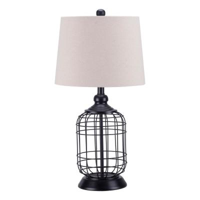 25.5 in. Black Cage Table Lamp with Oatmeal Linen Shade