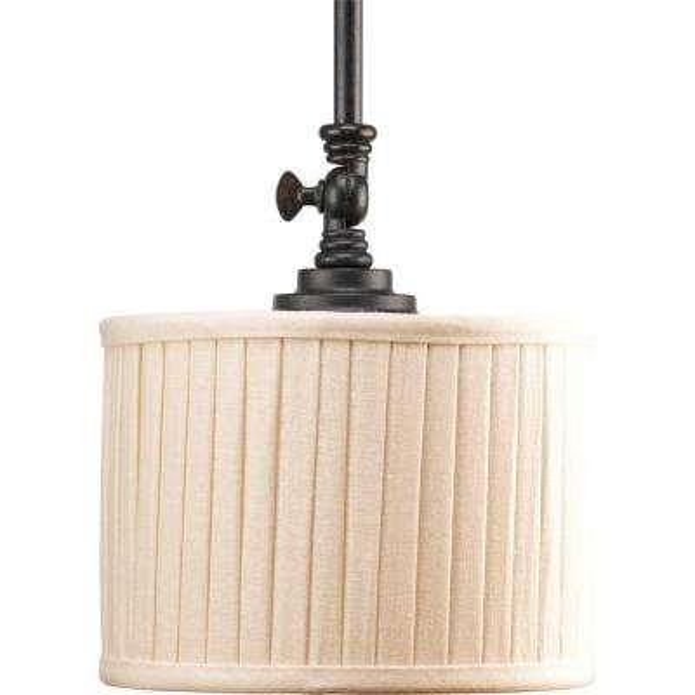 Clayton Collection 1-Light Espresso Mini Pendant with Cream Pleated Linen Shade