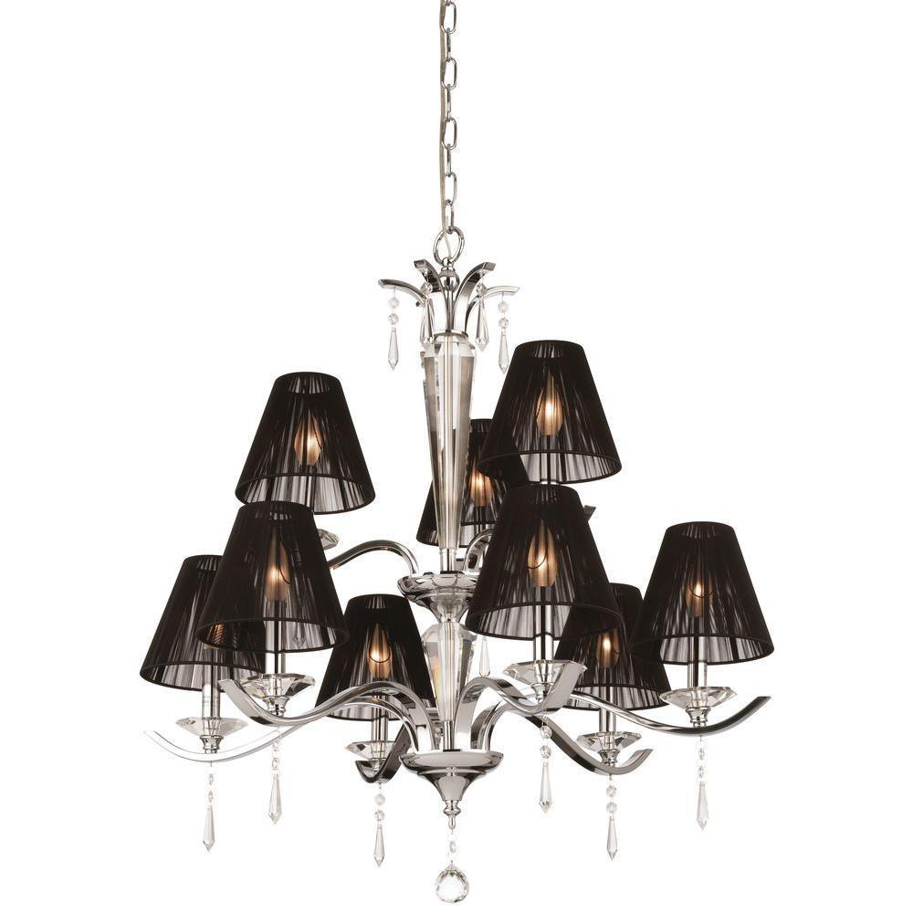 Thomas Lighting Jacqueline 9-Light Hanging Chrome Chandelier-DISCONTINUED