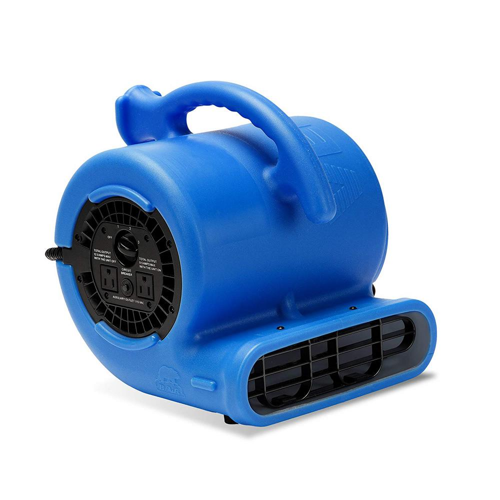 B-Air 1/4 HP Air Mover Blower Fan for Water Damage Restoration Carpet Dryer Floor Home and Plumbing Use in Blue