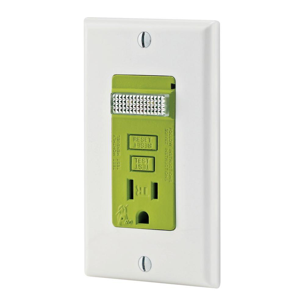 Leviton Evr-Green Base Level 1 GFCI Guide Light Receptacle for Electric Vehicles