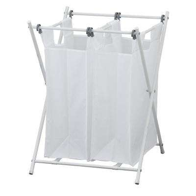 Wayar White Chrome Double Foldable Laundry Sorter