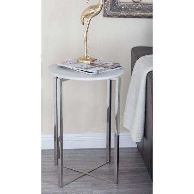 Modern Stainless Steel Marble Accent Table in White and Silver