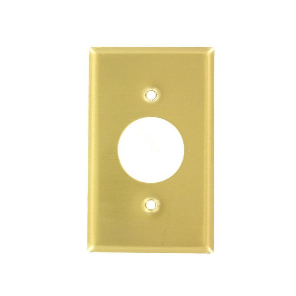 1-Gang 1 Single Outlet, Standard Size Wall Plate - Brass