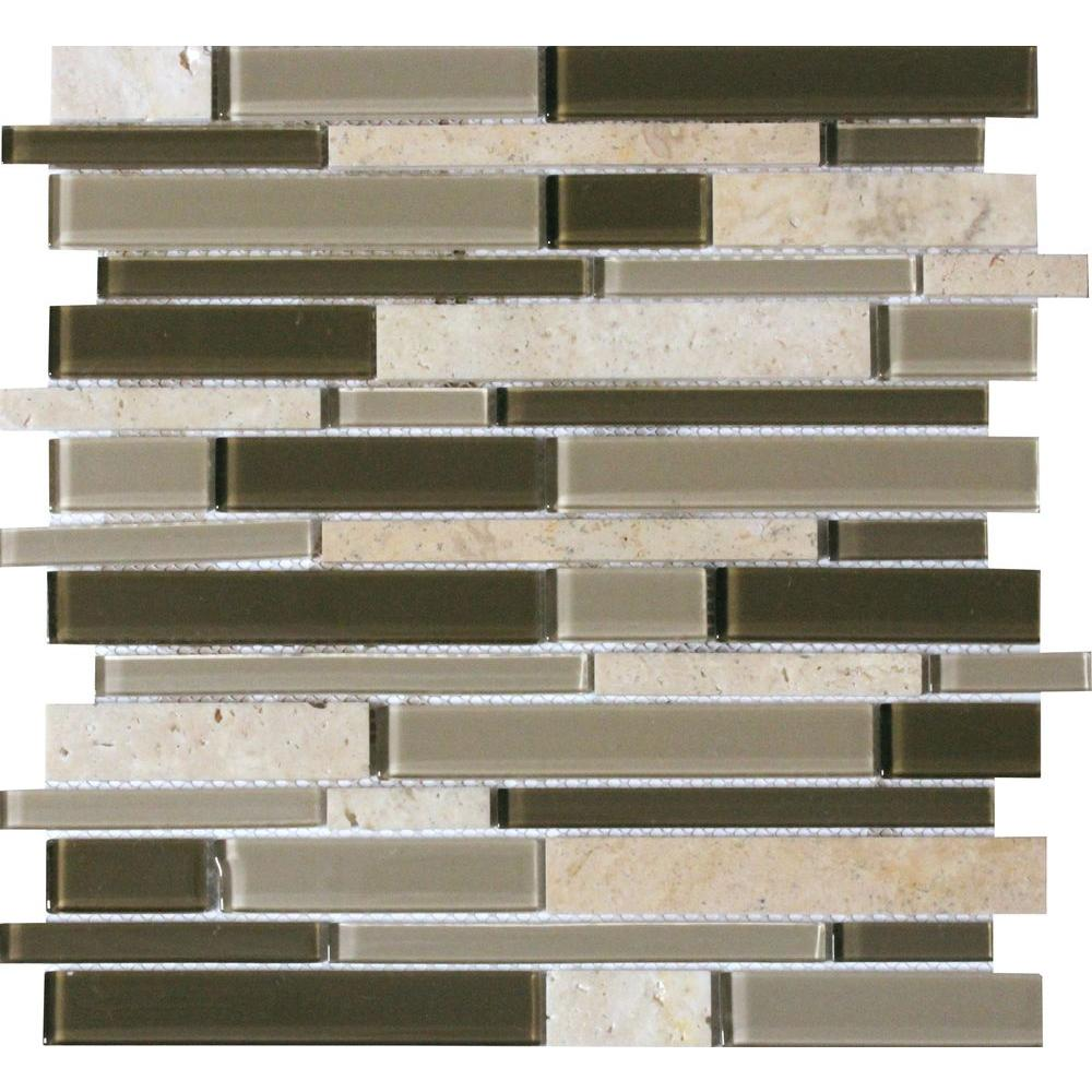 - 12 In. X 12 In. X 6mm Kings Gate Interlocking Textured Glass Stone