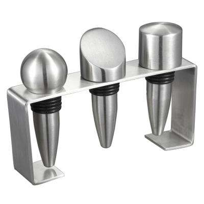 Barlow Stainless Steel Wine Stoppers with Rectangular Stand (Set of 3)