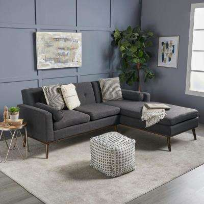 2-Piece Muted Dark Gray Button Back Fabric Sectional