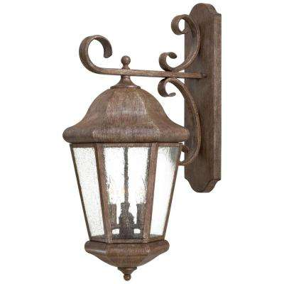 Taylor Court 3-Light Vintage Rust Outdoor Wall Mount Lantern