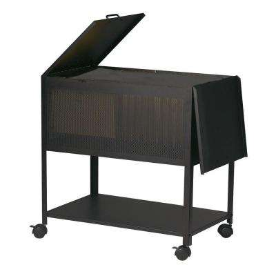 Catherine Steel File Cart with Hinged Top in Black