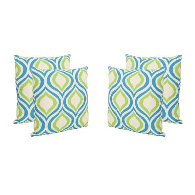 Phuket Ikat Blue and Green Square Outdoor Throw Pillows (Set of 4)