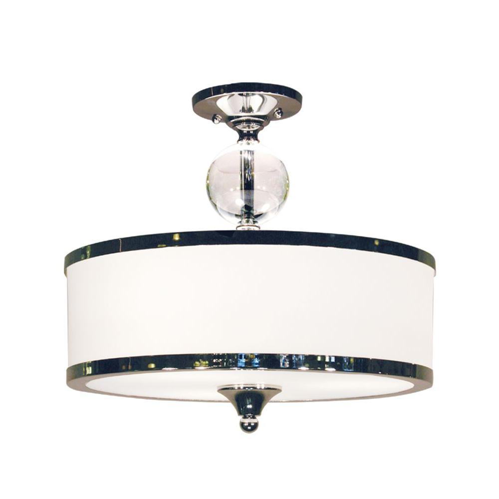 Lawrence 3-Light Chrome Contemporary Semi-Flush Mount with Matte Opal Glass