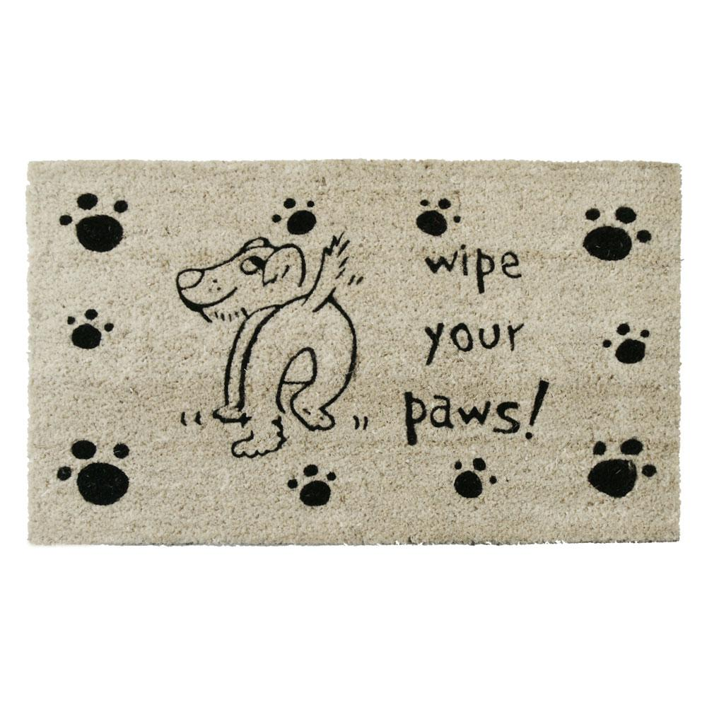 Rubber-Cal Wipe Your Paws 30 in. x 18 in. Dog Door Mat, B...
