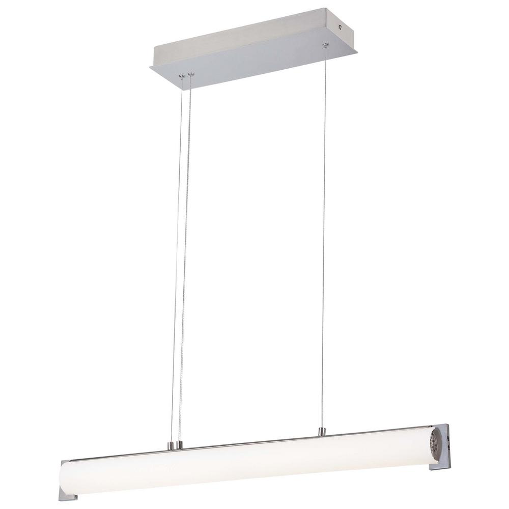 Tube 100-Watt Brushed Nickel Integrated LED Pendant with Etched White Glass