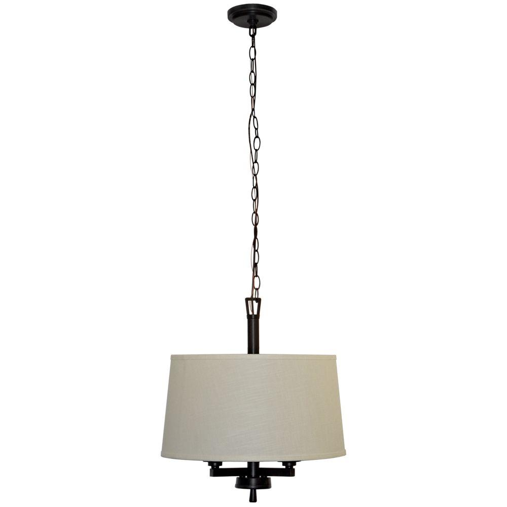 Hampton Bay Atchison 3 Light Oil Rubbed Bronze Drum Pendant With White Linen Shade
