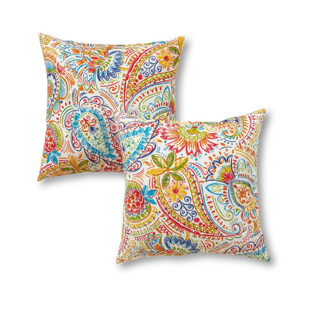 Greendale Home Fashions Jamboree Paisley Square Outdoor Throw Pillow (2-Pack)