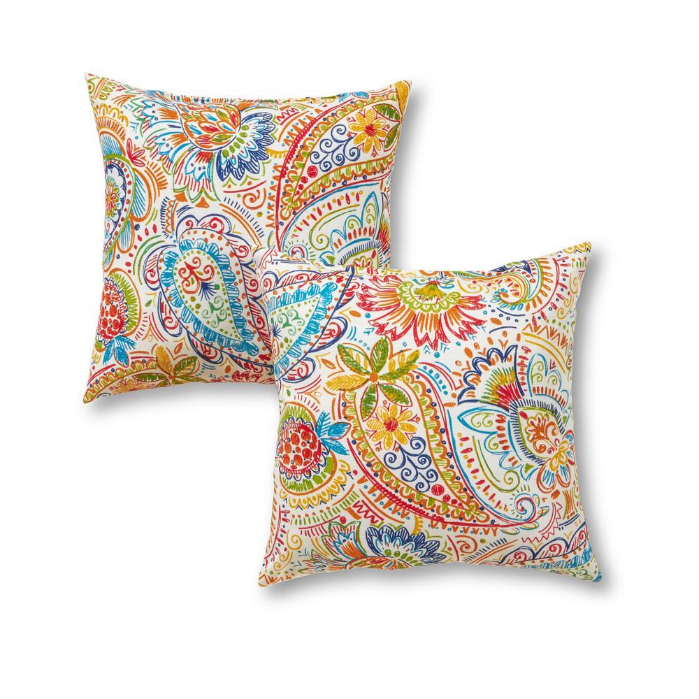 Jamboree Paisley Square Outdoor Throw Pillow (2-Pack)