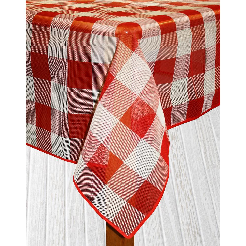 Lintex Bistro Check 60 In. X 84 In. Red Vinyl And Poly Ta.