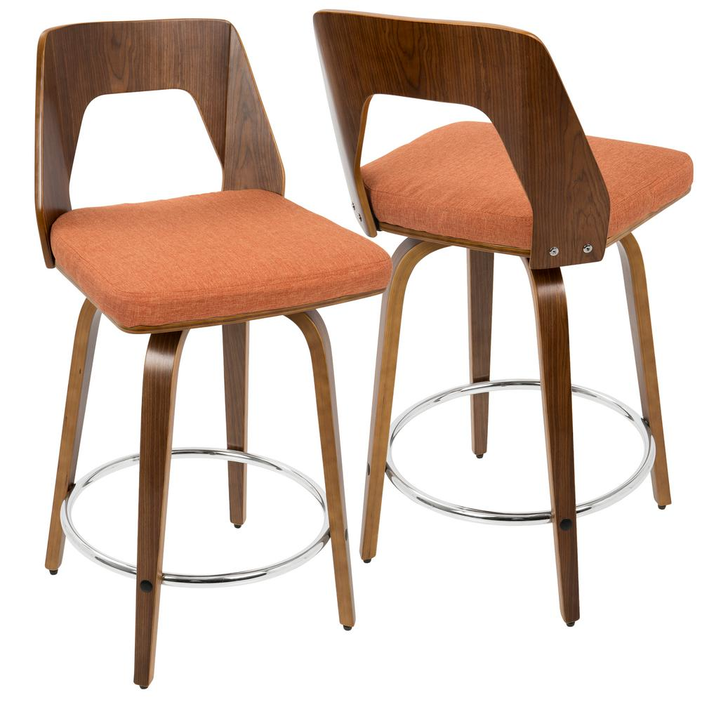 Lumisource Trilogy Walnut And Orange Mid Century Modern