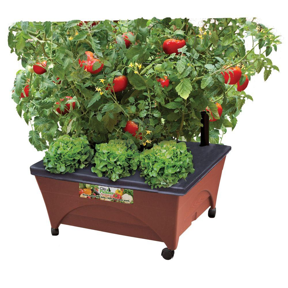 CITY PICKERS 24.5 in. x 20.5 in. Patio Raised Garden Bed Grow Box Kit with Watering System and Casters in Terra Cotta