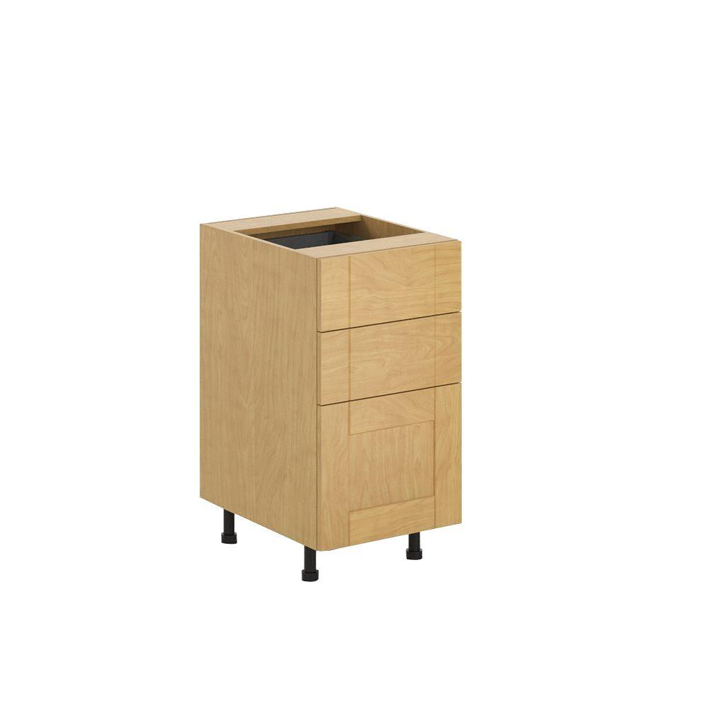Ready to Assemble 18x34.5x24.5 in. Milano 3-Drawer Base Cabinet in Maple