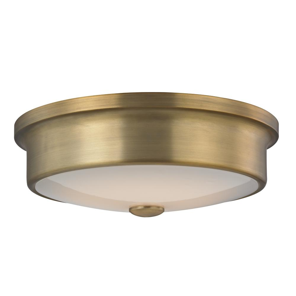 led flush mount fixture rectangle fifth and main lighting versailles 12 in aged brass 16watt integrated led flushmount