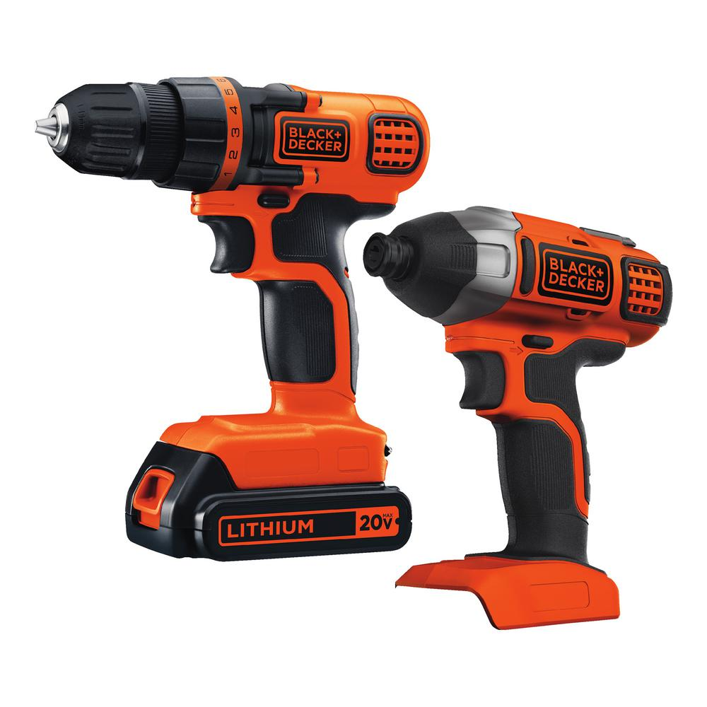 BLACK+DECKER 20-Volt MAX Lithium-Ion Cordless Drill/Driver and Impact Driver Combo Kit (2-Tool) with Battery 1.5Ah and Charger