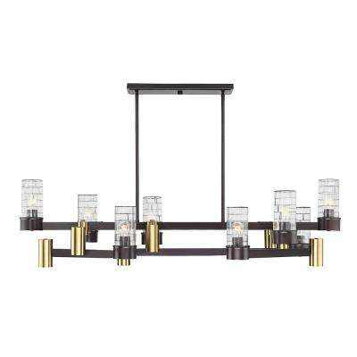 14-Light English Bronze and Warm Brass Chandelier with Clear Channeled Glass