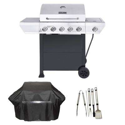 5-Burner Propane Gas Grill in Stainless Steel with Side Burner and Black Cabinet Plus Cover and Tool Set