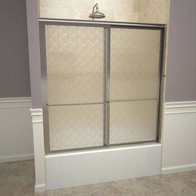 1100 Series 59 in. W x 58-1/2 in. H Framed Sliding Tub Doors in Polished Chrome with Towel Bars and Obscure Glass