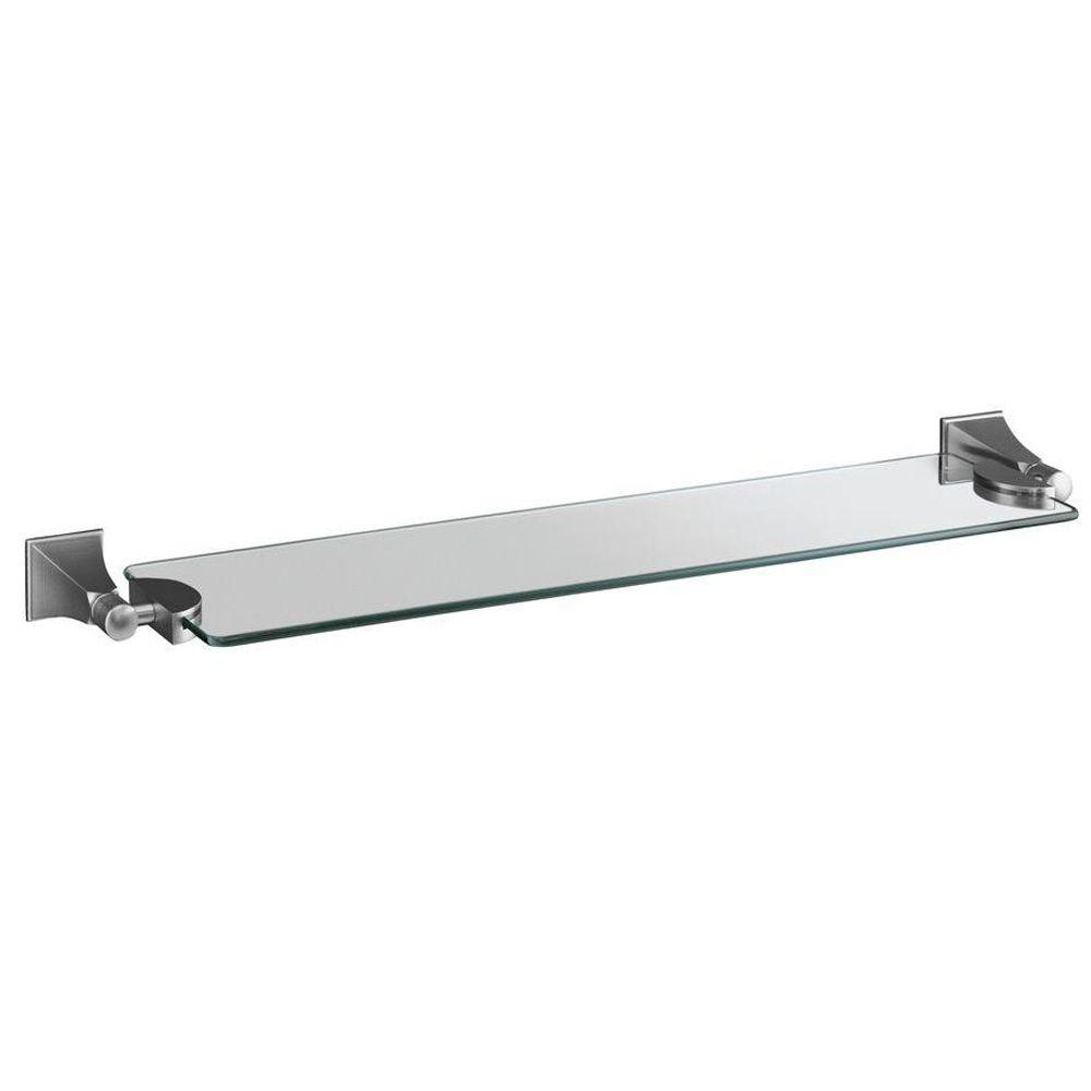 KOHLER Memoirs Wall-Mount 24 in. W Glass Shelf in Brushed Chrome-DISCONTINUED