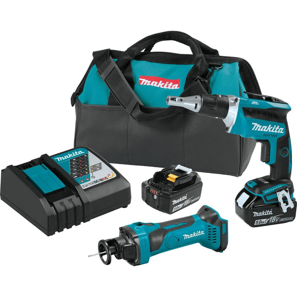 Makita 18-Volt LXT Lithium-ion Cordless 2-Piece Combo Kit (Brushless Drywall Screwdriver/Cut-Out Tool) 5.0Ah