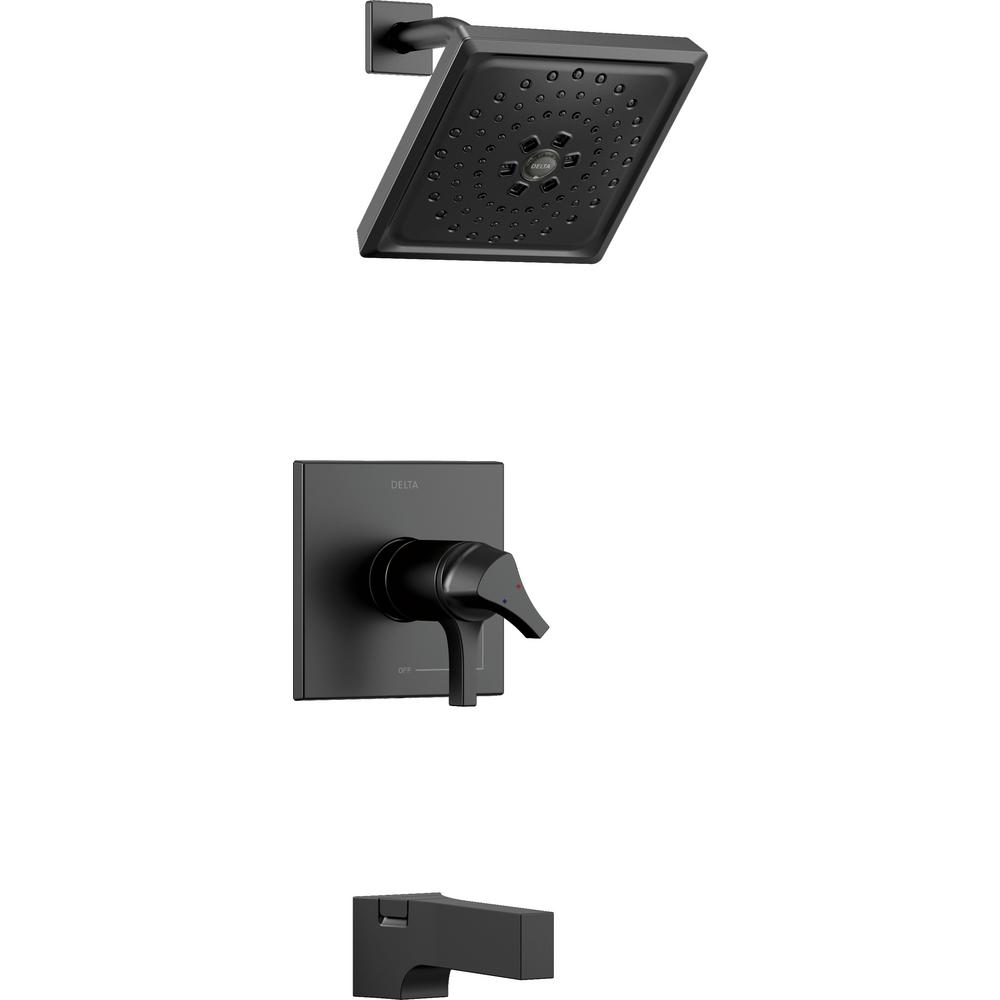 Zura TempAssure 1-Handle Tub and Shower Faucet Trim Kit with H2Okinetic Spray in Matte Black (Valve Not Included)
