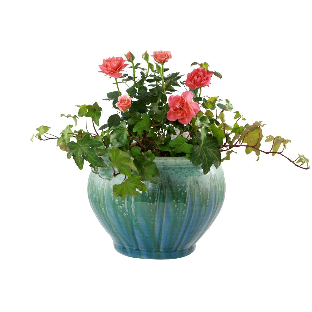 Pennington 8.5 in. Atlantis Belfry Blue Ceramic Planter