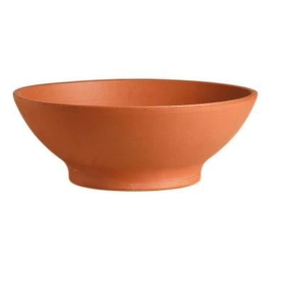 12 in. Terra Cotta Clay Low Bowl