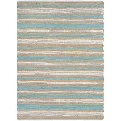 Nature's Elements Awning Stripes Straw-Arctic Blue-White 5 ft. x 8 ft. Area Rug
