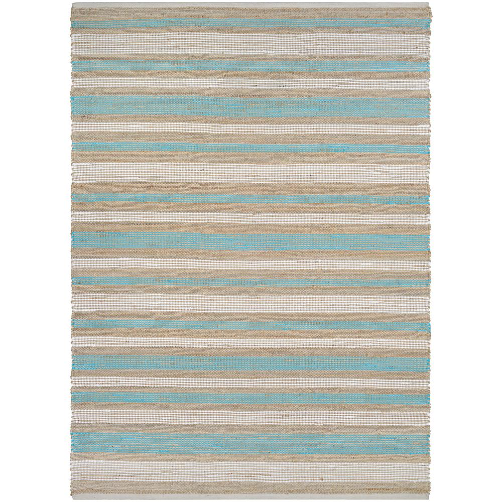 Couristan Nature S Elements Awning Stripes Straw Arctic Blue White 6 Ft X 9 Area Rug